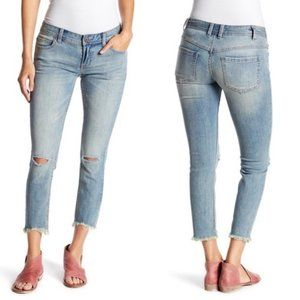 Free People Skinny Lowrise Destroyed Raw Hem Jeans